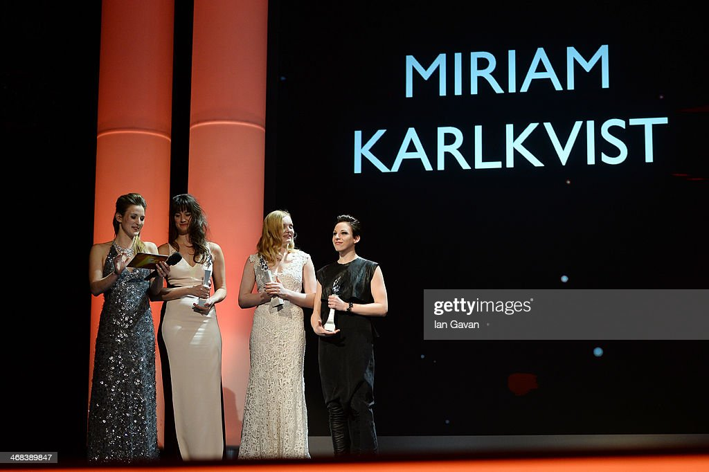 Host Jeannine Michaelsen, Danica Curcic, Maria Dragus and Miriam Karlkvist on stage at the Shooting Stars stage presentation during the 64th Berlinale International Film Festival at the Berlinale Palast on February 10, 2014 in Berlin, Germany.
