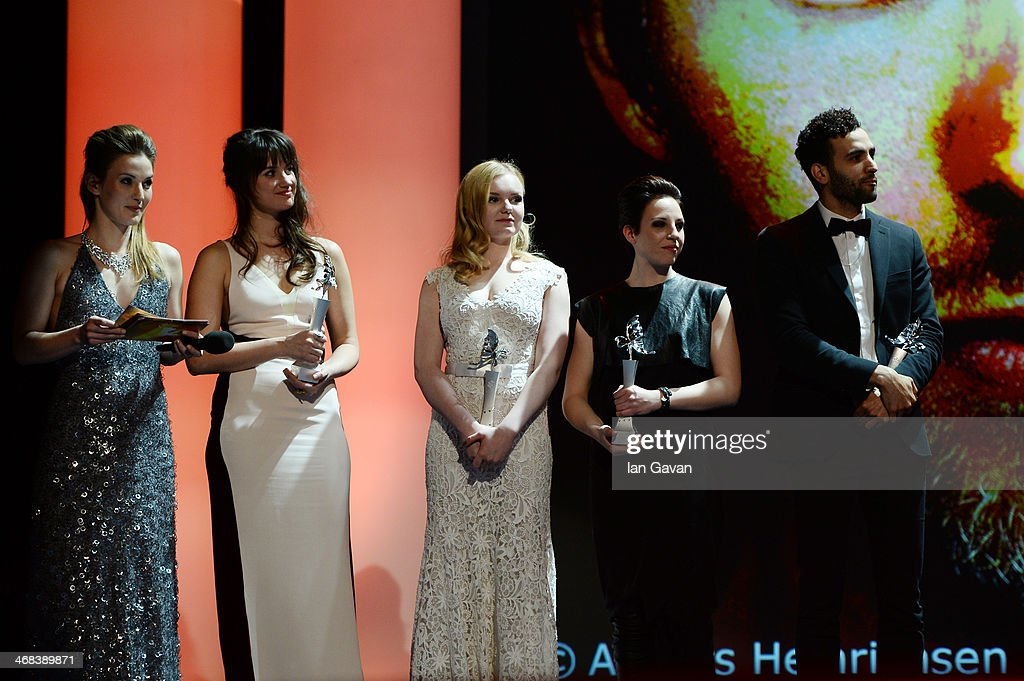 Host Jeannine Michaelsen, Danica Curcic, Maria Dragus, Miriam Karlkvist and Marwan Kenzari on stage at the Shooting Stars stage presentation during the 64th Berlinale International Film Festival at the Berlinale Palast on February 10, 2014 in Berlin, Germany.
