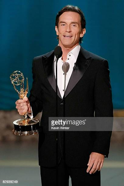 Host Jeff Probst accepts the Emmy for Best Host for a Reality or RealityCompetition Program for 'Survivor' onstage during the 60th Primetime Emmy...