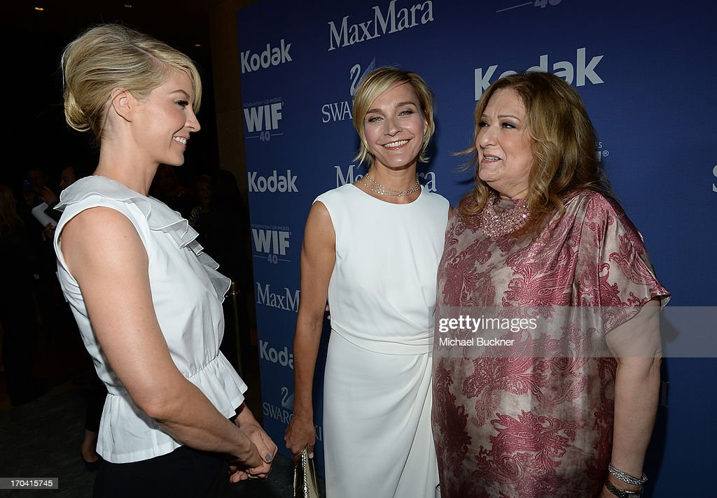 Host Jenna Elfman, Max Mara executive Nicola Maramotti, and Women in Film President Emeritus Iris Grossman attend Women In Film's 2013 Crystal + Lucy Awards at The Beverly Hilton Hotel on June 12, 2013 in Beverly Hills, California.