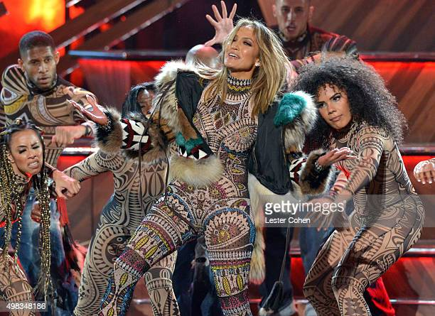 Host Jennifer Lopez performs onstage during the 2015 American Music Awards at Microsoft Theater on November 22 2015 in Los Angeles California
