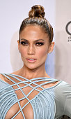 Host Jennifer Lopez poses in the press room during the 2015 American Music Awards at Microsoft Theater on November 22 2015 in Los Angeles California