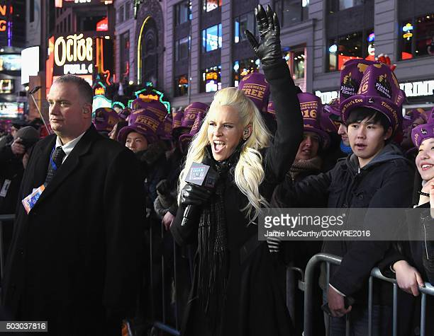 Host Jenny McCarthy speaks on camera at the Dick Clark's New Year's Rockin' Eve with Ryan Seacrest 2016 on December 31 2015 in New York City