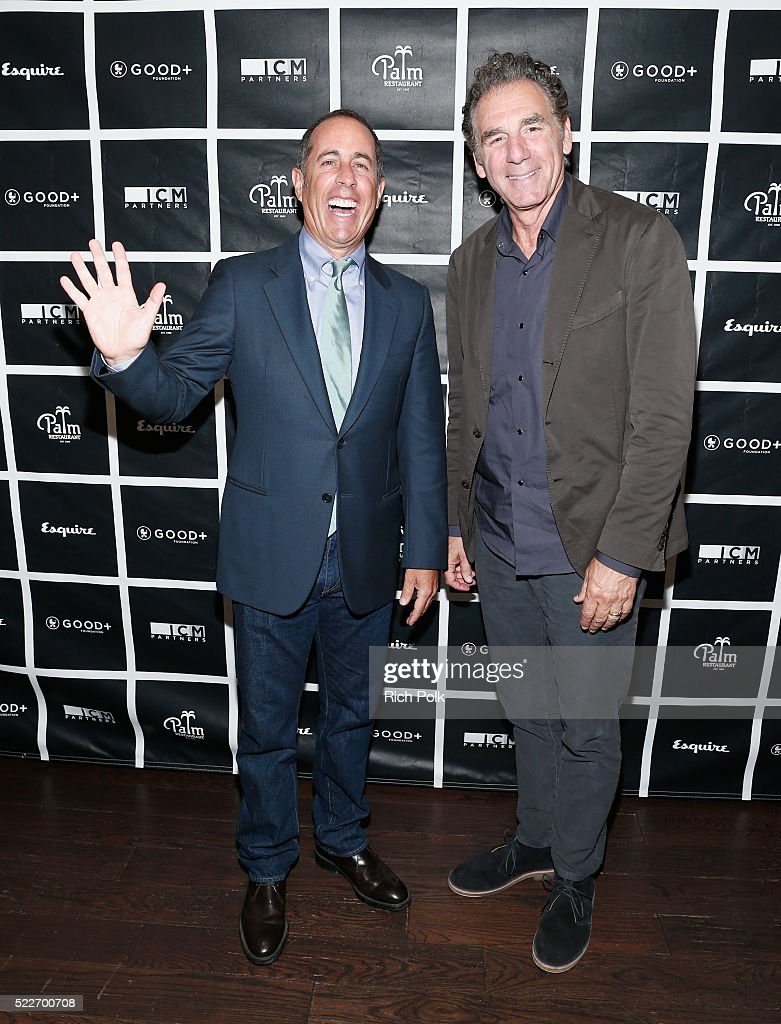 Host Jerry Seinfeld and actor Michael Richards attend the 2nd annual Los Angeles Fatherhood Lunch to benefit GOOD+FOUNDATION at The Palm Restaurant on April 20, 2016 in Beverly Hills, California.