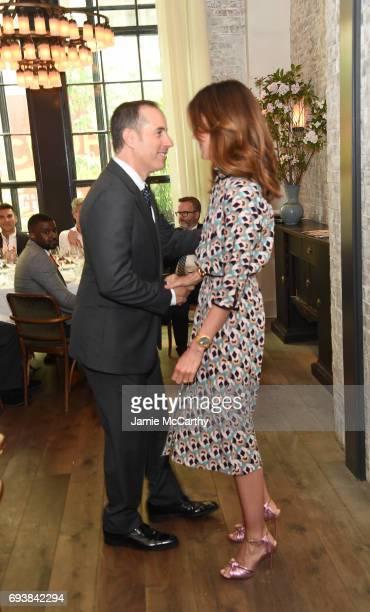 Host Jerry Seinfeld and NETAPORTER and MR PORTER President Alison Loehnis attend GOOD Foundation MR PORTER Host Fatherhood Lunch With Jerry Seinfeld...