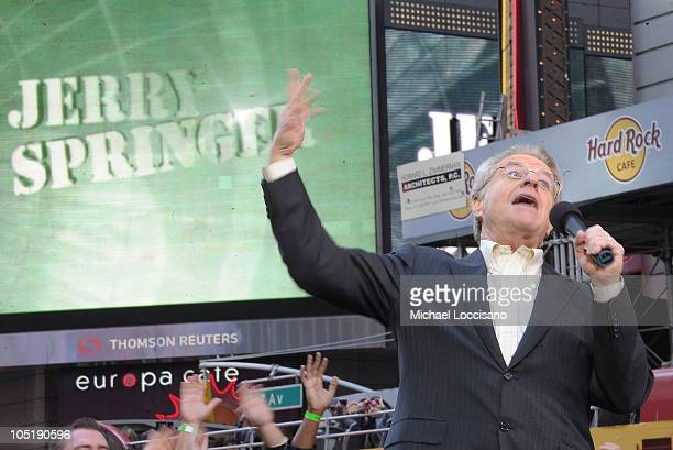 Host Jerry Springer celebrates the taping of 'The Jerry Springer Show' 20th anniversary show at Military Island Times Square on October 11 2010 in...