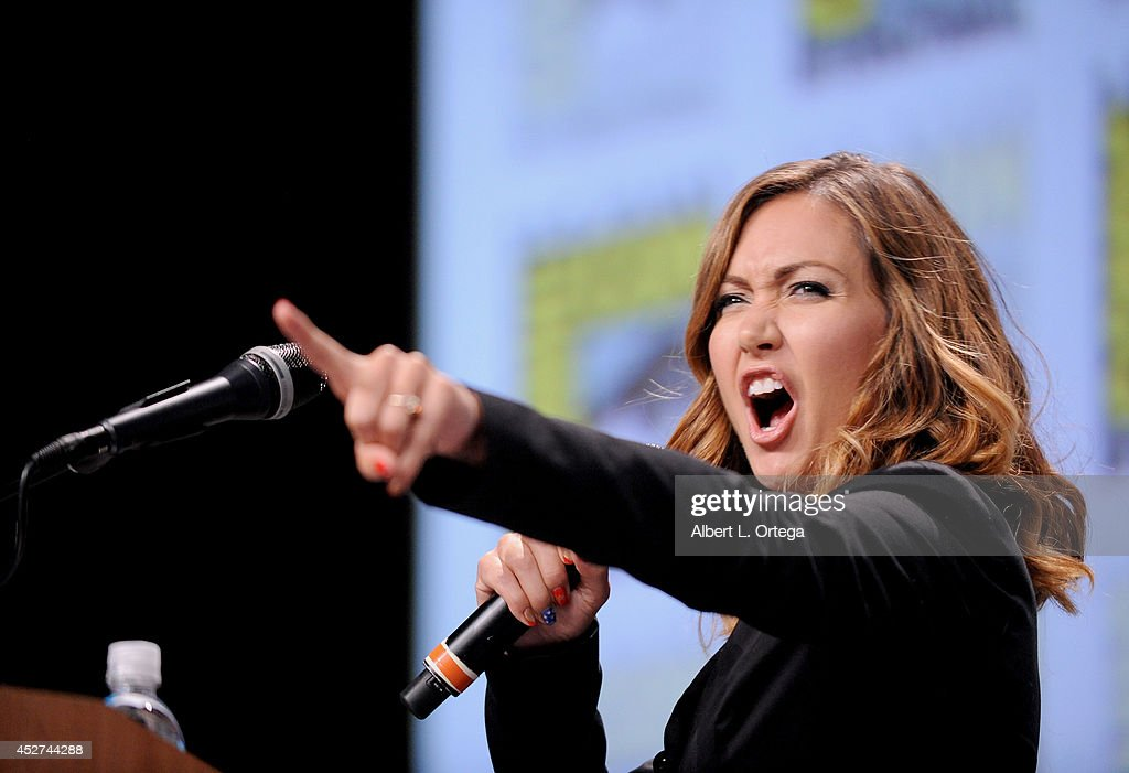 TV host <a gi-track='captionPersonalityLinkClicked' href=/galleries/search?phrase=Jessica+Chobot&family=editorial&specificpeople=4862448 ng-click='$event.stopPropagation()'>Jessica Chobot</a> attends the Legendary Pictures preview and panel during Comic-Con International 2014 at San Diego Convention Center on July 26, 2014 in San Diego, California.