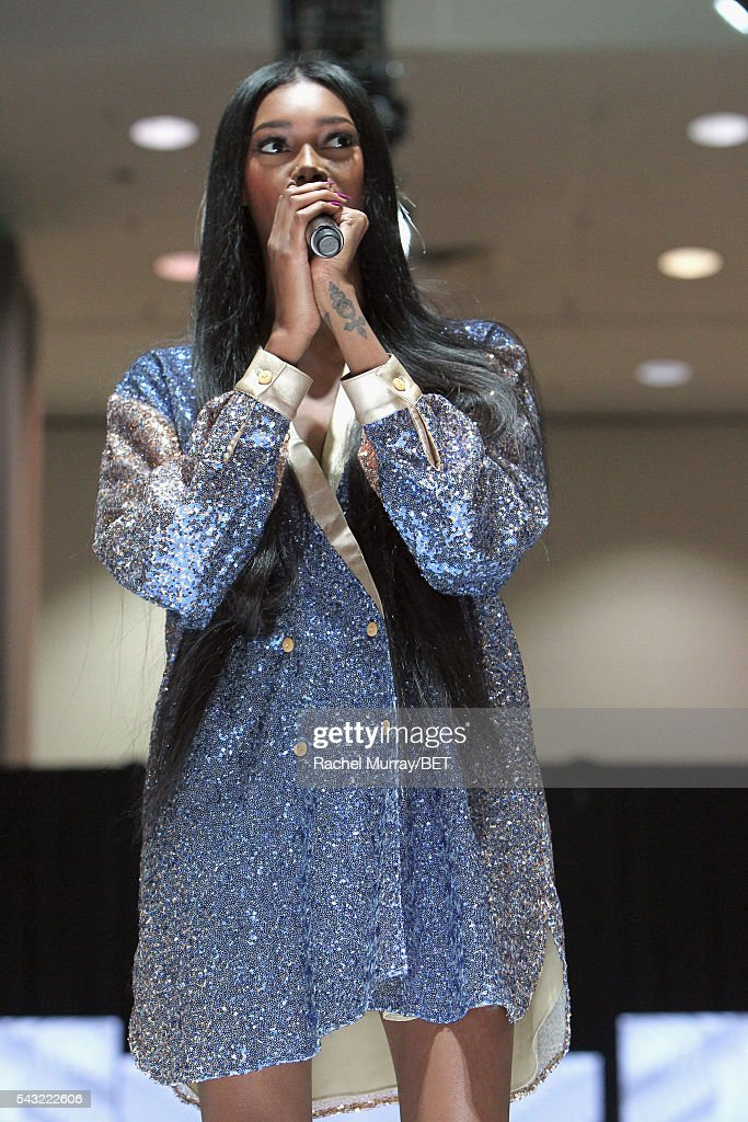 Host <a gi-track='captionPersonalityLinkClicked' href=/galleries/search?phrase=Jessica+White&family=editorial&specificpeople=220742 ng-click='$event.stopPropagation()'>Jessica White</a> speaks at the Fashion & Beauty @ BETX sponsored by Progressive fashion show during the 2016 BET Experience on June 26, 2016 in Los Angeles, California.