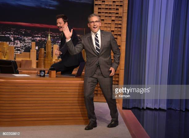Host Jimmy Fallon and actor Steve Carell attend 'The Tonight Show Starring Jimmy Fallon' at Rockefeller Center on June 27 2017 in New York City
