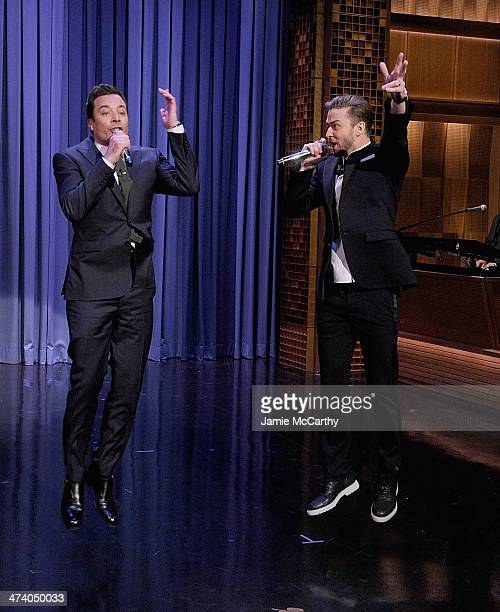 Host Jimmy Fallon and actor/musician Justin Timberlake during the 'History of Rap' skit on 'The Tonight Show Starring Jimmy Fallon' at Rockefeller...
