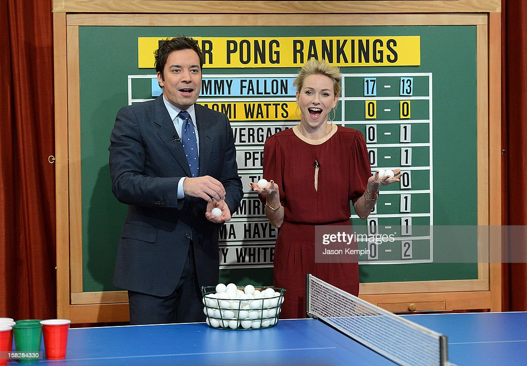 Host <a gi-track='captionPersonalityLinkClicked' href=/galleries/search?phrase=Jimmy+Fallon&family=editorial&specificpeople=171520 ng-click='$event.stopPropagation()'>Jimmy Fallon</a> and actress <a gi-track='captionPersonalityLinkClicked' href=/galleries/search?phrase=Naomi+Watts&family=editorial&specificpeople=171723 ng-click='$event.stopPropagation()'>Naomi Watts</a> play beer pong during 'Late Night With <a gi-track='captionPersonalityLinkClicked' href=/galleries/search?phrase=Jimmy+Fallon&family=editorial&specificpeople=171520 ng-click='$event.stopPropagation()'>Jimmy Fallon</a>' at Rockefeller Center on December 12, 2012 in New York City.