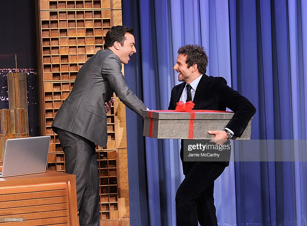 Host Jimmy Fallon and <a gi-track='captionPersonalityLinkClicked' href=/galleries/search?phrase=Bradley+Cooper&family=editorial&specificpeople=680224 ng-click='$event.stopPropagation()'>Bradley Cooper</a> on 'The Tonight Show Starring Jimmy Fallon' at Rockefeller Center on February 19, 2014 in New York City.