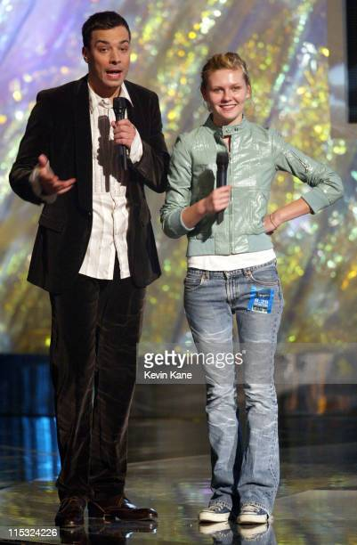 Host Jimmy Fallon and Kirsten Dunst during 2002 MTV Video Music Awards Dress Rehearsal at Radio City Music Hall in New York City New York United...