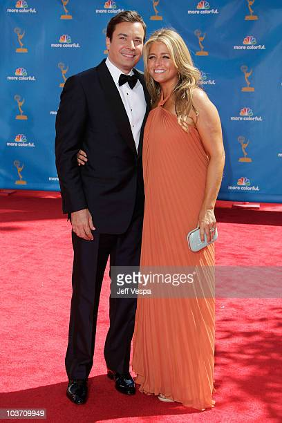 Host Jimmy Fallon and producer Nancy Juvonen arrives at the 62nd Annual Primetime Emmy Awards held at the Nokia Theatre LA Live on August 29 2010 in...