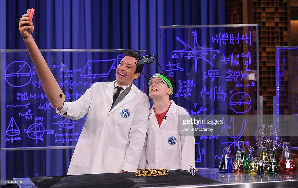 Host Jimmy Fallon and young inventor Jonathan Haller during The Tonight Show Fallonventions segment on 'The Tonight Show Starring Jimmy Fallon' at Rockefeller Center on February 19, 2014 in New York City.