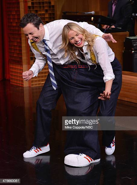 Host Jimmy Fallon dances with actress Cameron Diaz during her visit to 'The Tonight Show Starring Jimmy Fallon' at Rockefeller Center on February 28...