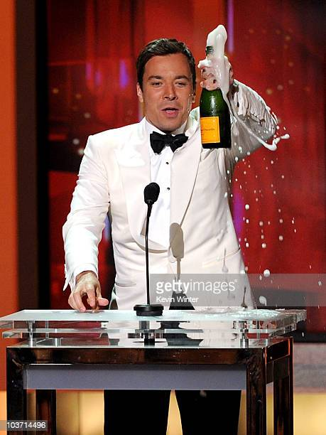 Host Jimmy Fallon speaks onstage at the 62nd Annual Primetime Emmy Awards held at the Nokia Theatre LA Live on August 29 2010 in Los Angeles...