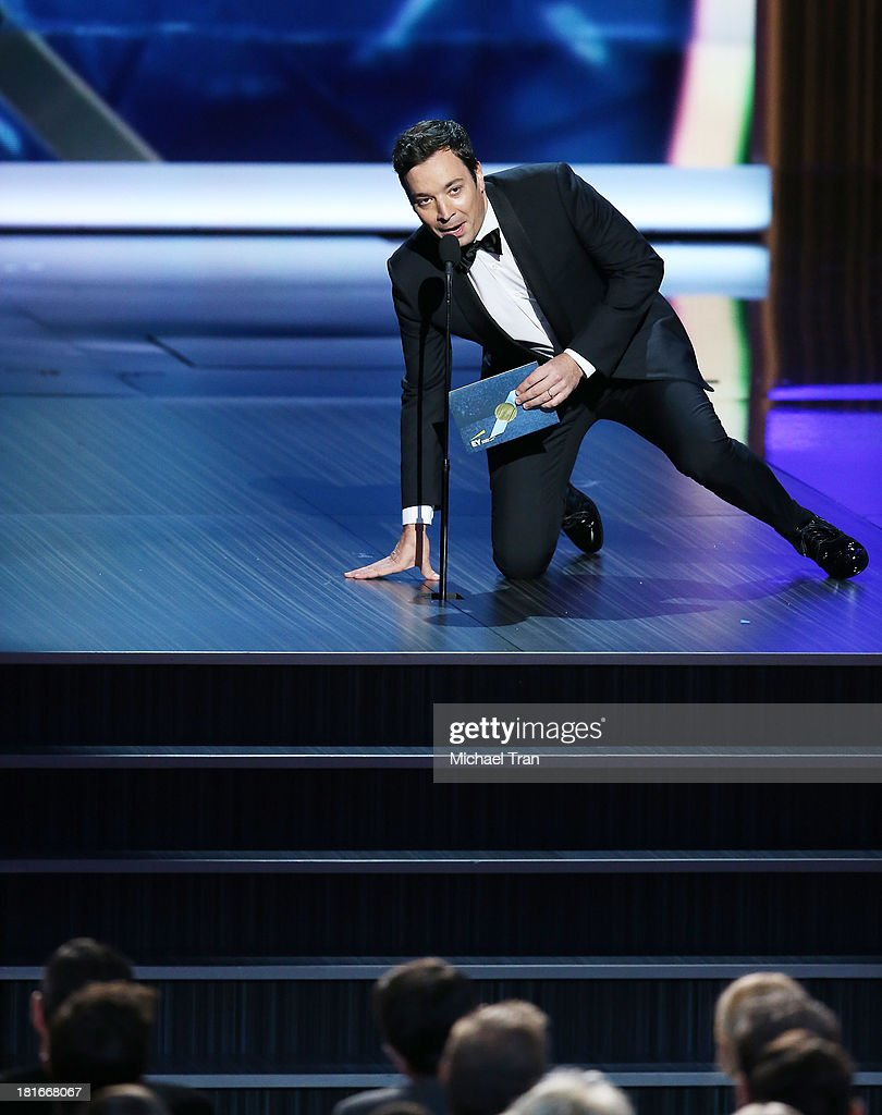 TV host Jimmy Fallon speaks onstage during the 65th Annual Primetime Emmy Awards held at Nokia Theatre LA Live on September 22 2013 in Los Angeles...