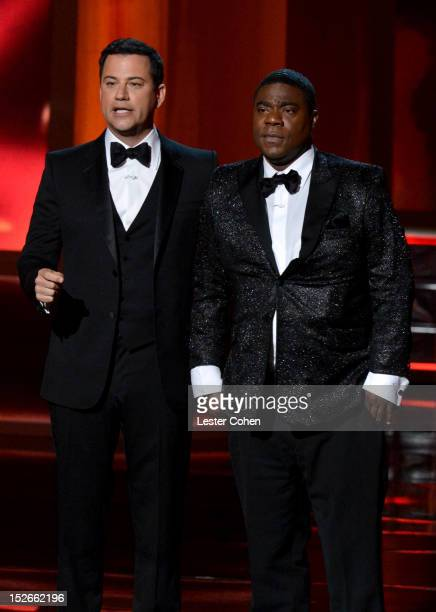 Host Jimmy Kimmel and actor Tracy Morgan speak onstage at the 64th Primetime Emmy Awards at Nokia Theatre LA Live on September 23 2012 in Los Angeles...