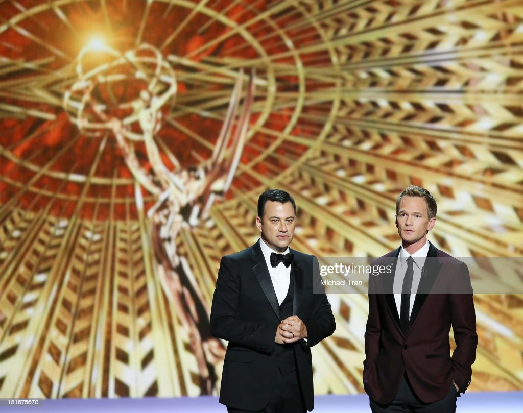 TV host Jimmy Kimmel and host Neil Patrick Harris speak onstage during the 65th Annual Primetime Emmy Awards held at Nokia Theatre LA Live on...