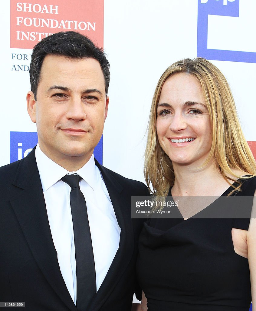 Host <a gi-track='captionPersonalityLinkClicked' href=/galleries/search?phrase=Jimmy+Kimmel&family=editorial&specificpeople=214115 ng-click='$event.stopPropagation()'>Jimmy Kimmel</a> and Molly McNearney arrive at the USC Shoah Foundation Institute Ambassadors for Humanity Gala held at the Grand Ballroom at Hollywood & Highland Center on June 6, 2012 in Hollywood, California.
