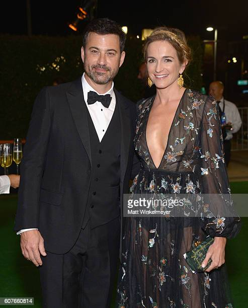 Host Jimmy Kimmel and screenwriter Molly McNearney attend the 68th Annual Primetime Emmy Awards Governors Ball at Microsoft Theater on September 18...