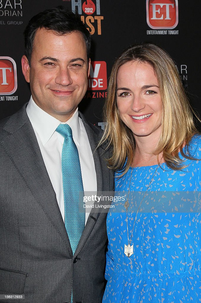 TV host <a gi-track='captionPersonalityLinkClicked' href=/galleries/search?phrase=Jimmy+Kimmel&family=editorial&specificpeople=214115 ng-click='$event.stopPropagation()'>Jimmy Kimmel</a> (L) and writer Molly McNearney attend TV Guide Magazine's 2012 Hot List Party at SkyBar at the Mondrian Los Angeles on November 12, 2012 in West Hollywood, California.