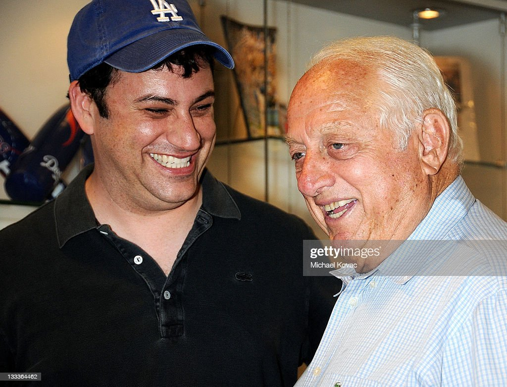 TV Host Jimmy Kimmel appears with former Dodgers Manager Tommy Lasorda after throwing the ceremonial first pitch at Dodger Stadium on June 29 2009 in...