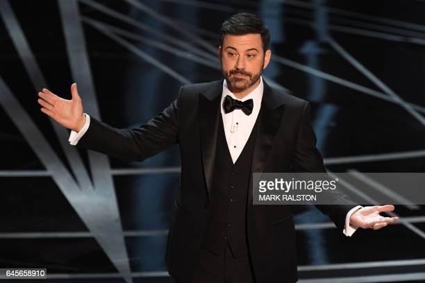 Host Jimmy Kimmel delivers a speech on stage at the 89th Oscars on February 26 2017 in Hollywood California / AFP / Mark RALSTON