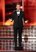 Host Jimmy Kimmel onstage during the 64th Primetime Emmy Awards at Nokia Theatre LA Live on September 23 2012 in Los Angeles California