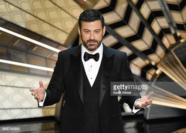Host Jimmy Kimmel onstage during the 89th Annual Academy Awards at Hollywood Highland Center on February 26 2017 in Hollywood California