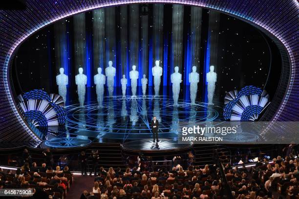 Host Jimmy Kimmel performs on stage at the 89th Oscars on February 26 2017 in Hollywood California / AFP / Mark RALSTON