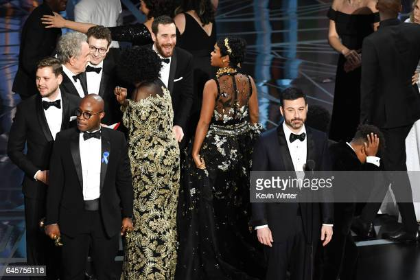 Host Jimmy Kimmel speaks onstage as cast/crew of 'Moonlight' celebrate winning Best Picture during the 89th Annual Academy Awards at Hollywood...