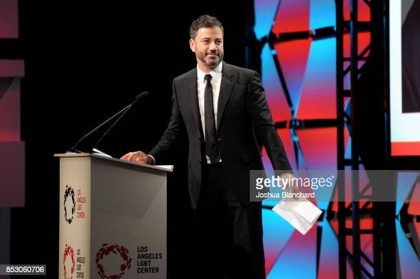 Host Jimmy Kimmel speaks onstage at Los Angeles LGBT Center's 48th Anniversary Gala Vanguard Awards at The Beverly Hilton Hotel on September 23 2017...