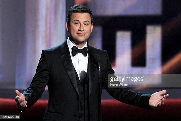 Host Jimmy Kimmel speaks onstage during the 64th Annual Primetime Emmy Awards at Nokia Theatre LA Live on September 23 2012 in Los Angeles California