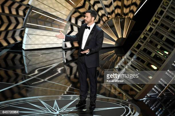 Host Jimmy Kimmel speaks onstage during the 89th Annual Academy Awards at Hollywood Highland Center on February 26 2017 in Hollywood California