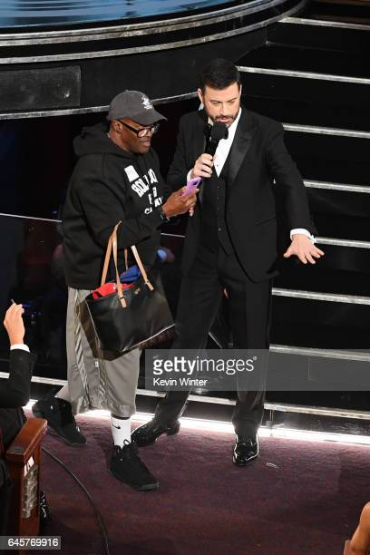 Host Jimmy Kimmel surprises a tourist during the 89th Annual Academy Awards at Hollywood Highland Center on February 26 2017 in Hollywood California