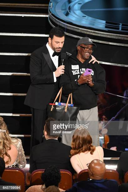 Host Jimmy Kimmel surprises tourist with an entrance tothe 89th Annual Academy Awards at Hollywood Highland Center on February 26 2017 in Hollywood...