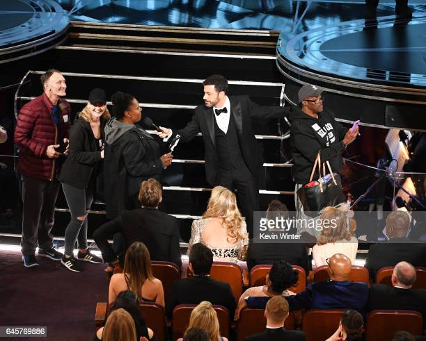 Host Jimmy Kimmel surprises tourists during the 89th Annual Academy Awards at Hollywood Highland Center on February 26 2017 in Hollywood California