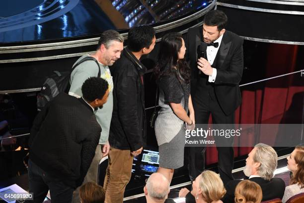 Host Jimmy Kimmel surprises tourists with an entrance to the 89th Annual Academy Awards at Hollywood Highland Center on February 26 2017 in Hollywood...