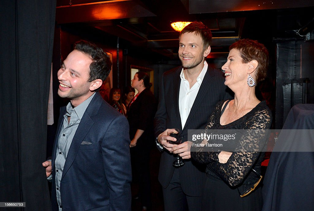 Host Joel McHale (C), actor Nick Kroll (L) and Noreen Fraser (R) attend Variety's 3rd annual Power of Comedy event presented by Bing benefiting the Noreen Fraser Foundation held at Avalon on November 17, 2012 in Hollywood, California.