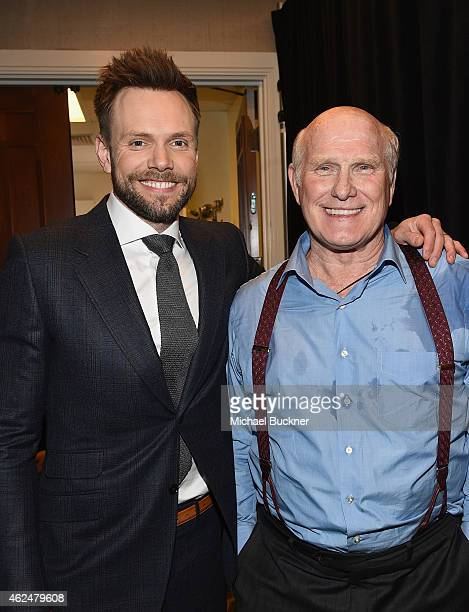 Host Joel McHale and honoree Terry Bradshaw attend the Friars Club Roast of Terry Bradshaw during the ESPN Super Bowl Roast at the Arizona Biltmore...