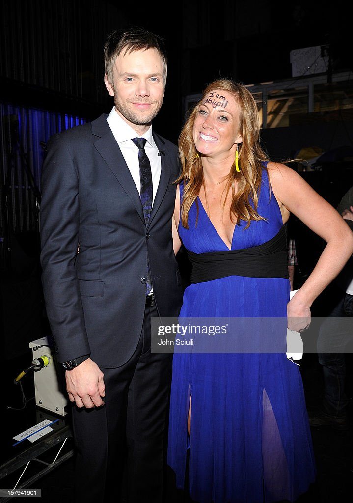 Host <a gi-track='captionPersonalityLinkClicked' href=/galleries/search?phrase=Joel+McHale&family=editorial&specificpeople=754384 ng-click='$event.stopPropagation()'>Joel McHale</a> and 'More Than Me' foundation founder Katie Meyler attend the American Giving Awards presented by Chase held at the Pasadena Civic Auditorium on December 7, 2012 in Pasadena, California.