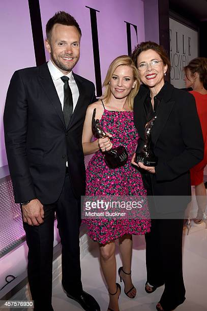Host Joel McHale honoree Elizabeth Banks and honoree Annette Bening attend ELLE's 21st Annual Women in Hollywood Celebration at the Four Seasons...