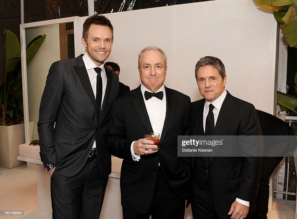 Host Joel McHale, Producer Lorne Michaels and Paramount Pictures Chairman/CEO Brad Grey attend the 15th Annual Costume Designers Guild Awards with presenting sponsor Lacoste at The Beverly Hilton Hotel on February 19, 2013 in Beverly Hills, California.