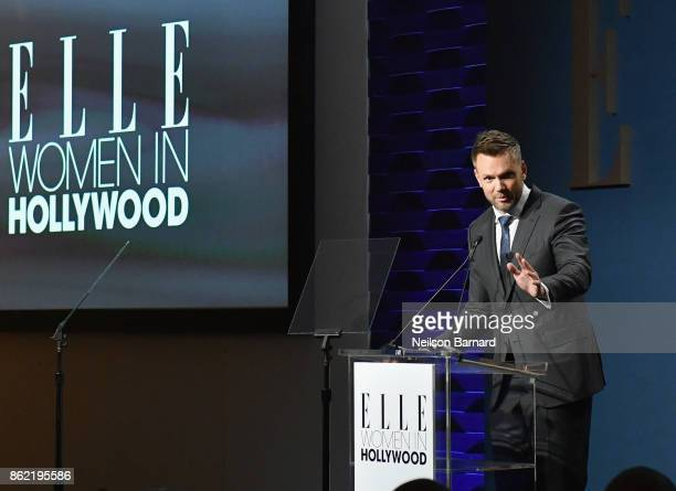 Host Joel McHale speaks onstage at ELLE's 24th Annual Women in Hollywood Celebration presented by L'Oreal Paris Real Is Rare Real Is A Diamond and...
