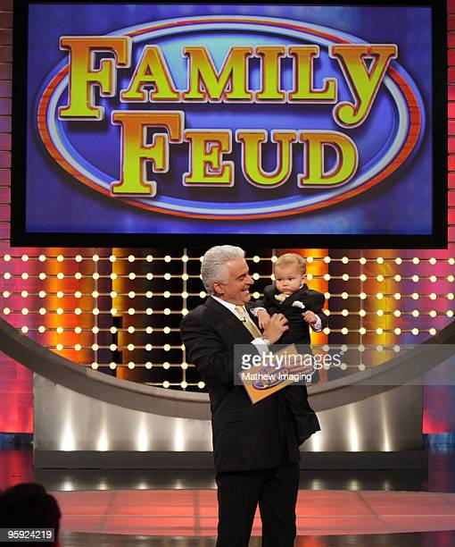 LOS ANGELES CA JUNE 19Host John O'Hurley and his 18 month old son William on the set of Family Feud on June 20 2008 at KTLA in Los Angeles California