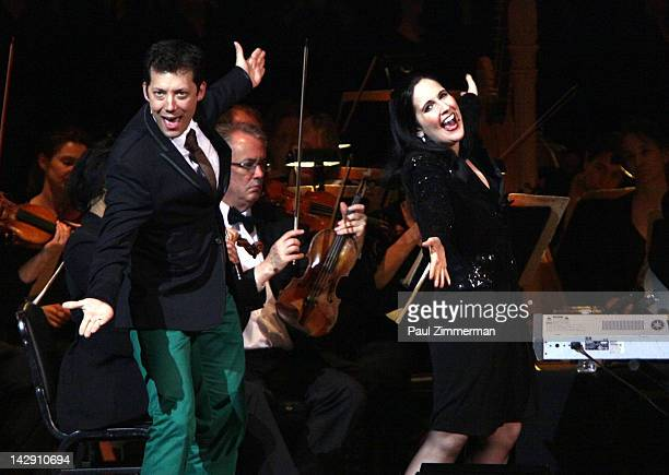 Host John Tartaglia and actress/pupeteer Stephanie D'Abruzzo perform during The New York Pops Present 'Jim Henson's Musical World' at Carnegie Hall...