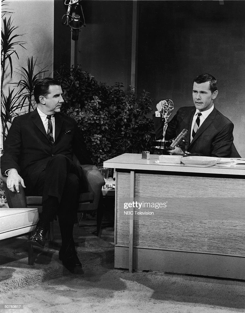 Host <a gi-track='captionPersonalityLinkClicked' href=/galleries/search?phrase=Johnny+Carson&family=editorial&specificpeople=206990 ng-click='$event.stopPropagation()'>Johnny Carson</a> sits with an Emmy award on his desk, as announcer Ed McMahon looks on, in a still from 'The Tonight Show With <a gi-track='captionPersonalityLinkClicked' href=/galleries/search?phrase=Johnny+Carson&family=editorial&specificpeople=206990 ng-click='$event.stopPropagation()'>Johnny Carson</a>,' 1963.