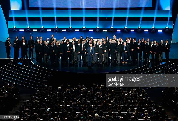 Host Jon Hamm addresses the audience to close the NHL 100 presented by GEICO show as part of the 2017 NHL AllStar Weekend at the Microsoft Theater on...